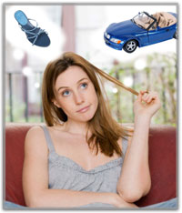 Woman thinking about buying a car or shoes.