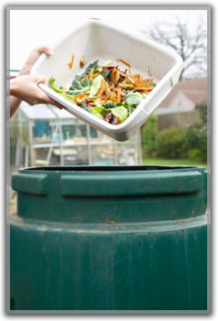 Person emptying food waste into compost bin.